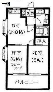荻窪駅から徒歩17分、2DK賃貸マンションの間取り