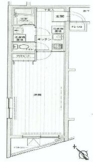 荻窪駅から徒歩7分、広めの1Kマンションの間取り