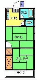 荻窪駅から徒歩16分の2Kアパートの間取り