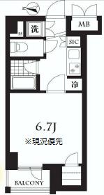 荻窪駅から徒歩11分、ペット可の1K賃貸マンションの間取り